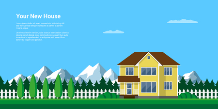 mountain summer landscape, flat style illustration, house in the forest with mountains on background, rest in peacefull village among mountains and trees