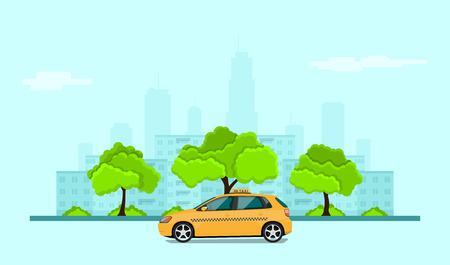commercial tree service: picture of taxi car in front of city silhouette, taxi service concept banner, flat style illustration