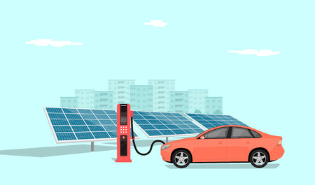 modern electric car charging at the charger station in front of the solar panels, big city skyline in the background, flat style illustration Illustration