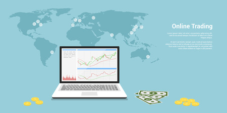 flat style web banner on stock trading concept, online trading, stock market analysis, business and investment, forex exchange Illustration