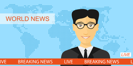 newscast: Anchorman on tv, news announcer in the studio, breaking news and television concept with globe map background, flat style illustration