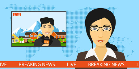 announcer: News announcer in the studio with a reporter live on screen, breaking news and television concept with globe map background, flat style illustration