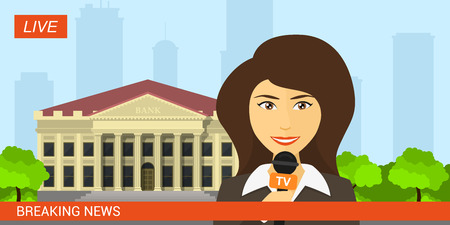 Live news presenter, picture of reporter with microphone in front of bank building, professional journalist. Breaking news, latest news concept. Flat style illustration. Illustration