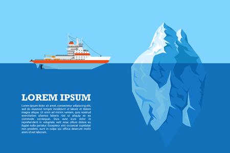 ディーゼル砕氷船と氷山、フラット スタイル イラスト絵