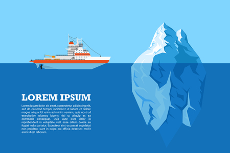 floating: picture of diesel icebreaker ship and iceberg, flat style illustration