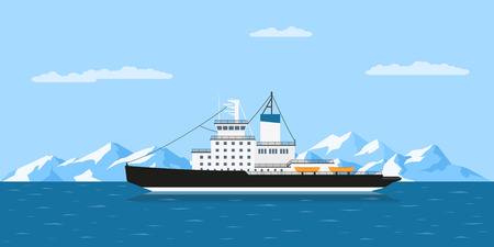 antarctic: picture of diesel icebreaker ship and icebergs, flat style illustration Illustration