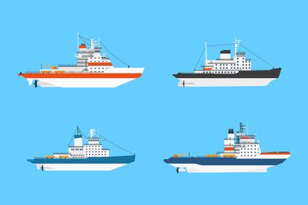 sailing boats: set of diesel icebraker ships isolated on blue background, flat style illustration
