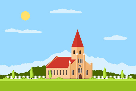 picture of a R church with fence and trees, summer landscape, flat style illustration 일러스트
