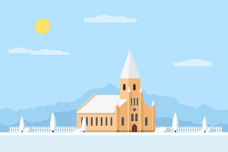 in monastery: picture of a church with fence and trees, summer landscape, flat style illustration