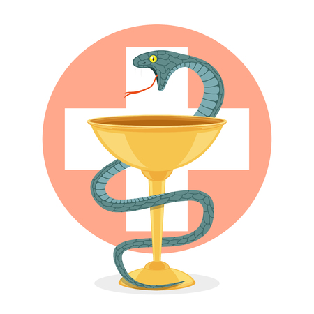snake and a bowl: snake and bowl Illustration