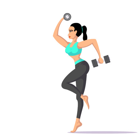 fit woman with dumbbells Illustration