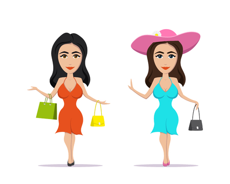 picture of elegant young woman with handbag and shopping bag dressed in a beautiful dress and hat