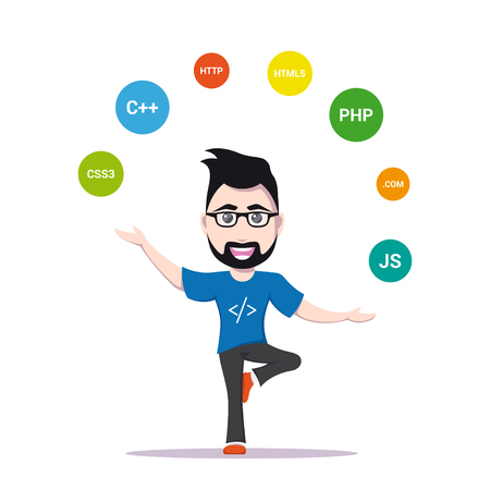 picture of a smart programmer man, joggling with programming languages and technologies, cartoon character illustration isolated on white background