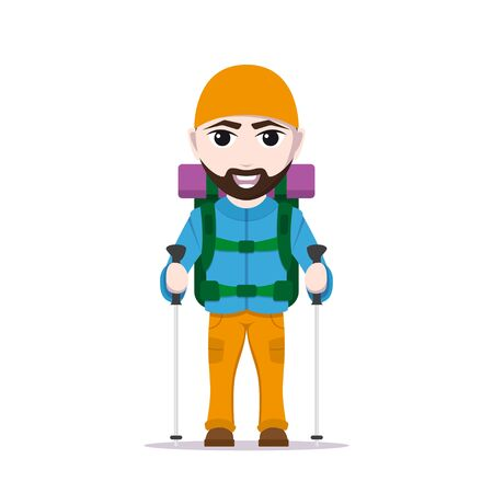 picture of cartoon traveler with large backpack and trekking poles, tourist man character isolated on white background
