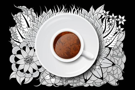 tea cup with doodle design Stock Photo