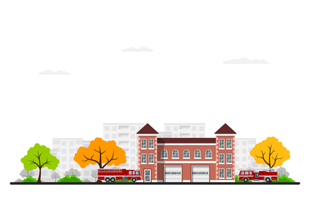 Picture of fire station vector illustration Illustration