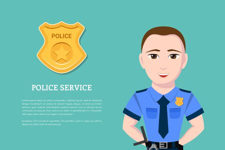 Picture of a police officer with police badge on background. Flat style banner for police service and law protection concept. Stock Photo
