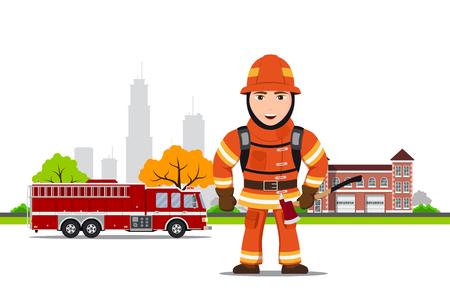 Bild eines Feuerwehrmannes Standard-Bild - 91776569