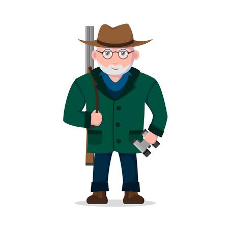 Old hunter character. Stock Illustratie