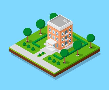 Isometric apartment house illustration. Illustration
