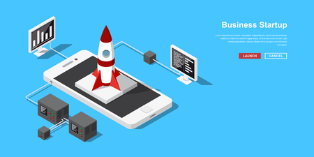 Launch of a mobile application or a new startup. Rocket or spacecraft takeoff from mobile phone. Concept banner in isometric style for new business, service or product starting. Illustration