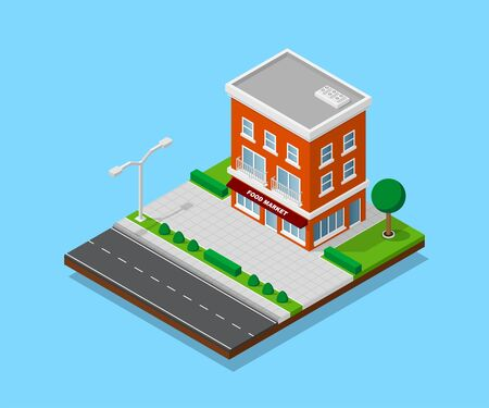 Picture of apartment house with footpaths, road, trees and street lights, low poly town building, isometric icon or info graphic element for city map creation