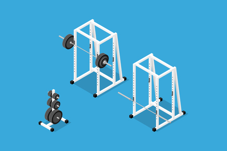 Isometric gym equipment Stock Illustratie
