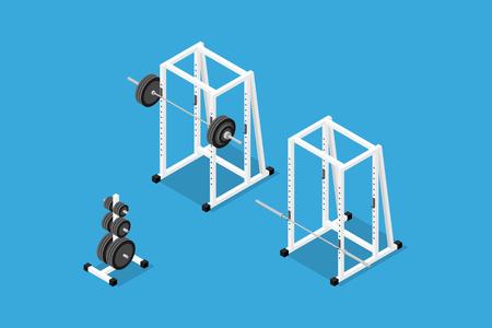 Isometric gym equipment Illustration