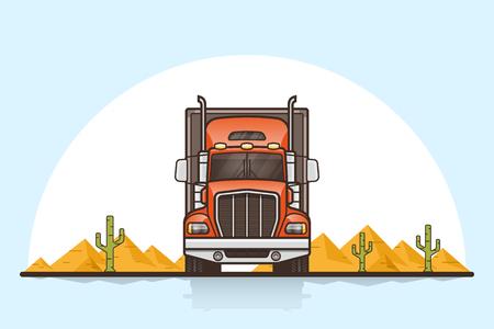 Truck on the road vector illustration. Illustration