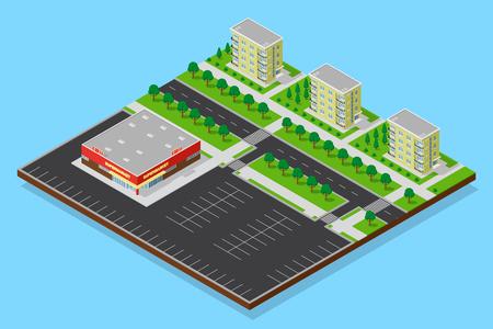 3D isometric supermarket