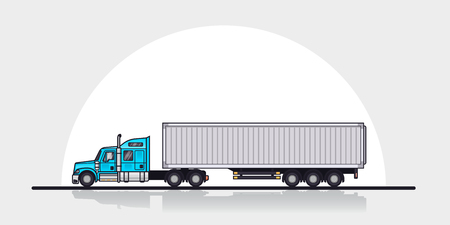 Picture of modern american cargo truck trailer, side view. Flat style line art illustration. Cargo transportation concept.