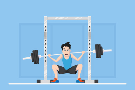 Picture of a man doing squats with barbell on neck back. Caricature bodybuilder newbie character design, flat style illustration. Foto de archivo - 97809421