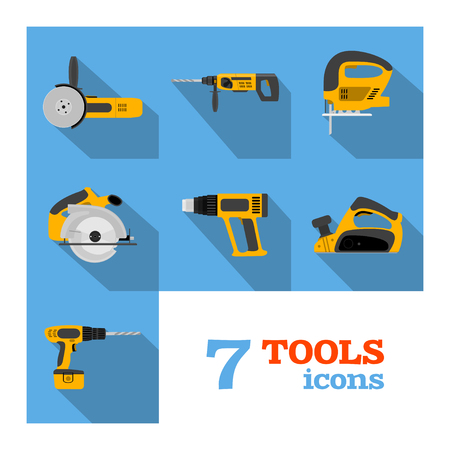 Set of electric tools on blue background. Flat style illustration.
