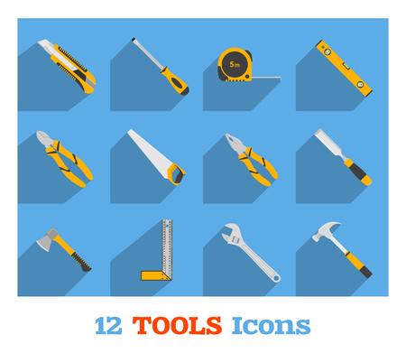 Set of hand tools on blue background. Flat style illustration. Illustration