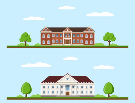 Picture of college and university buildings, education concept, flat style illustration
