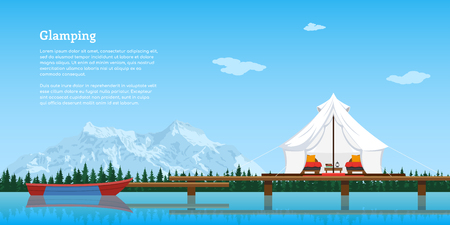picture of modern comfortable tent and boat on lake, forest and mountains on background, flat style concept banner, vacation and travel concept