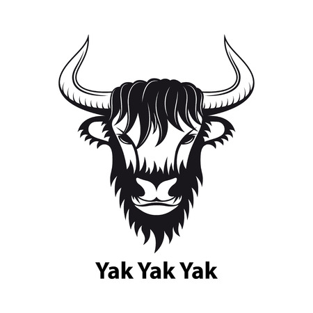 Yak logo design, emblem, mascot, black and white sillhouette illustration isolated on white background Illustration