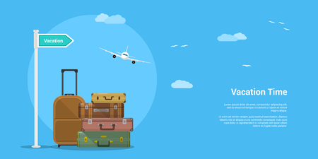 Picture of suitcases stack with clouds and flying plane on background, flat style illustration, vacation and travel concept Illustration