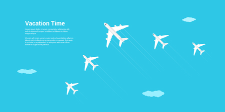 Picture of a civilian planes flying above the clouds, flat style illustration, banner for business, website etc., traveling, vacation, around the world concept