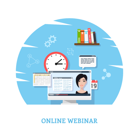 Flat style template design for online webinar, online education, distant education technology concept. Usable for web banner, wed sites, printed materials, infographics