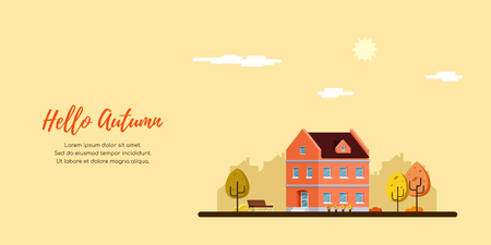 Downtown street with townhous, urban and suburban modern building. Autumn landscape. Real estate concept banner. Autumn landscape. Flat style illustration.