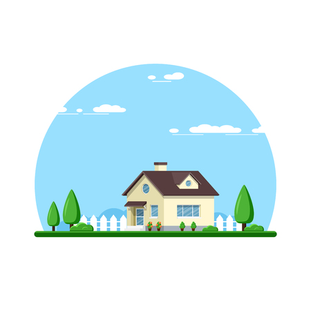 Picture of a family cottage house with trees, real estate, construction industry, flat style illlustration Иллюстрация