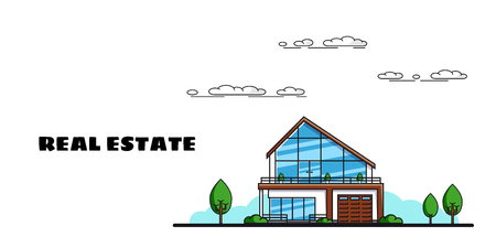 Picture of a family cottage house with trees, real estate, construction industry, flat style illlustration Illustration