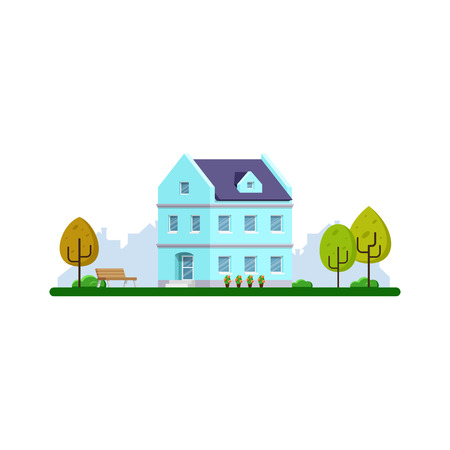 Picture of flat style house building. Real estate concept banner. Urban and suburban modern building.