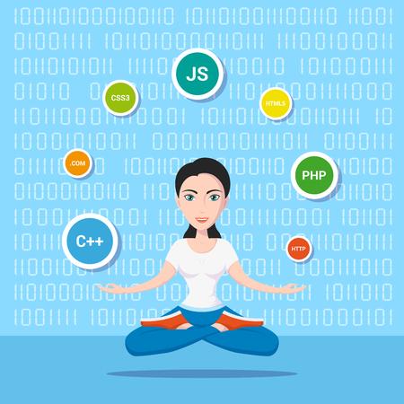 Photo d'une fille programmeuse intelligente, avec des langages et des technologies de programmation, illustration de personnage de dessin animé