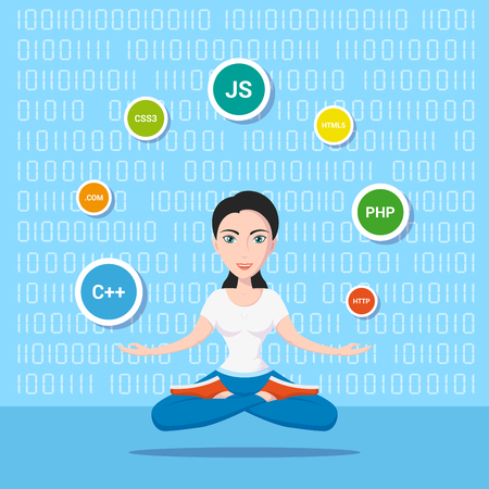 Picture of a smart programmer girl, with programming languages and technologies, cartoon character illustration Illustration
