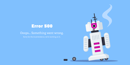 Web page ERROR 500. Broken robot icon. Flat style illustration.