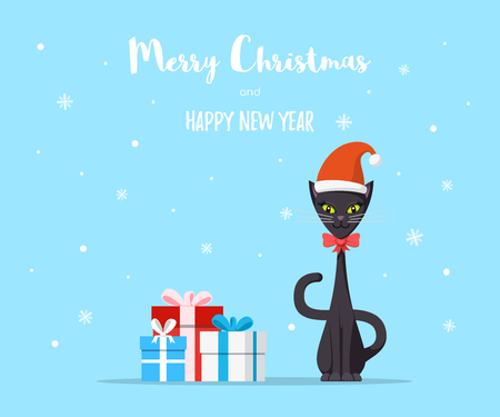 Cute domestic cat with gift boxes. Merry Christmas greeting card, web banner design. Flat style illustration. Character design.