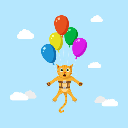Cute red funny cat flying high using ballons. Flat style illustration. Illustration