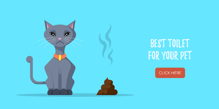 Picture of cute cat and poop lying beside. Concept banner for pet shop. Flat style illustration. Иллюстрация